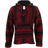Sudadera de diseño tradicional mejicano, de color rojo y negro, con capucha y de estilo hippie Rojo rosso L