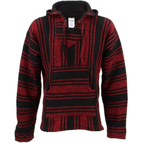 Siesta Mexikanischer Baja Jerga Kapuzenpullover, Rot und Schwarz Gr. M, rot / schwarz