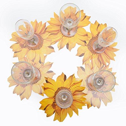 ROSEMARIE SCHULZ® 12 Blumen Glasuntersetzer Motiv Sonnenblume Gelb - Bar, Kaffee, Tee, Bier und Wein Glas Untersetzer, Ø 20cm