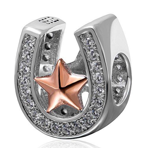 Ciondolo, a forma di zoccolo di cavallo porta fortuna, con stella in oro rosa, in argento Sterling 925, perlina in zirconia cubica trasparente, adatto ai braccialetti europei
