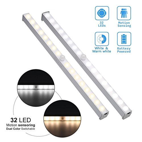 Elfeland Closet Light, Under Cabinet Light 32 LED Dual Colors Wireless Motion Sensor Battery Powered White Warm/White Safe Lights for Cupboard Wardrobe Stair Hallway (Bar - 2 Pack)