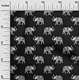 oneOone Georgette Di Viscosa Tessuto elefante bloccare Stampa Tessuto Per Cucire Al Metro 42 Largo Pollici