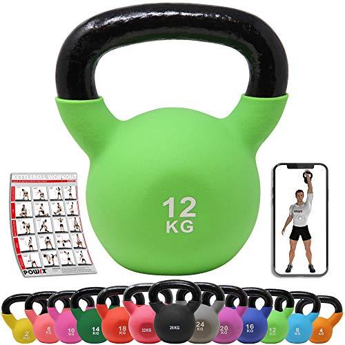 POWRX Kettlebell ghisa 12 kg - Ideale per Esercizi di »Functional Fitness« - Rivestimento in...