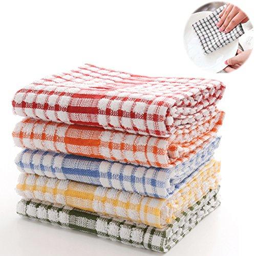 tea cloths LifeWheel Natural Cotton 5 Pack Kitchen Towels Dish Cloth Absorbent Multi-Use Dishcloths Tea Towels(17