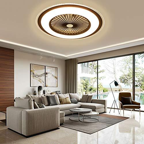 Berkalash – Ventilador de techo con iluminación, 23 pulgadas LED Ventilador de techo con lámpara, regulable con mando a distancia, 60 W de luz para salón, dormitorio, comedor (marrón)