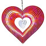 CIM Edelstahl Windspiel - Rainbow Crystal Heart 200mm - leichtdrehendes Windmobile mit brillanten Farben- inklusive Aufhängung – attraktive Raum- Fenster und Garten-Dekoration