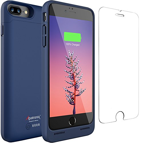 iPhone 8 Plus/7 Plus Battery Case, 5000mAh Slim Portable Protective Extended Charger Cover with Qi Wireless Charging Compatible with iPhone 8 Plus & iPhone 7 Plus (5.5 inch) BX190plus - (Blue)