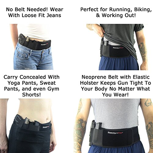 """ComfortTac Ultimate Belly Band Holster for Concealed Carry (XL (Belly Up to 54""""), Left)"""