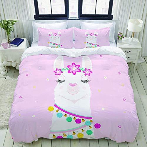695 Juego de ropa de cama con impresión 3D con 2 fundas de almohada, diseño de llamas y alpaca vector, juego de cama de 3 piezas con juego de cama de tamaño doble