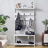 Maxi Porte-Manteau, Arbre à Manteau Industriel, Arbre à Arbre Debout, étagère à Chaussures avec Crochets Amovibles Hauteur 150 cm (Blanc)