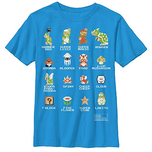 Nintendo boys Pixel 9 Cast Graphic T-shirt T Shirt, Turquoise, Large US