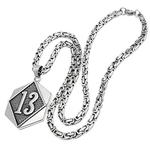 Schmuck-Checker XL Glückszahl Lucky 13 Dreizehn-Anhänger aus massivem Edelstahl Silber Königskette Bikerschmuck Rockerschmuck Männerschmuck Geschenk Glücksbringer