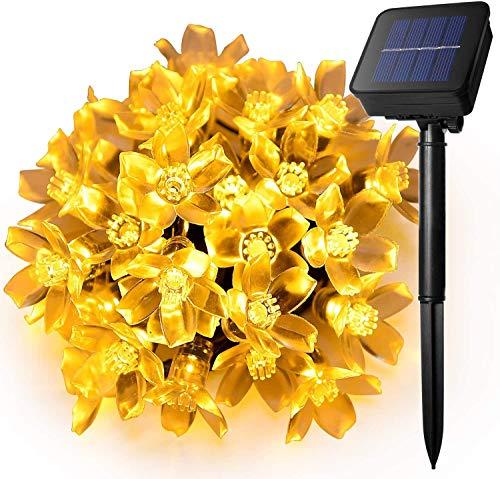 EasyDecor, 50 luci solari a forma di fiore, a LED, 7m, multicolore, impermeabili, stagionali, luci di Natale, per albero di Natale, da interni, matrimoni, patio, giardino, vacanze (bianco caldo)