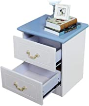 MEI XU Nightstand Drawer Locker-Blue-White Bedside Table Simple European Style MDF/Fiberboard Bedside Cabinet Bedroom Lock...