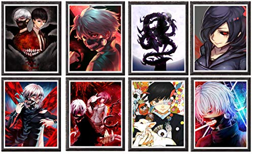 Pôster de arte de fã do anime Tokyo Ghoul da MS Fun Ken Kaneki em tela colorida para decoração, 20 x 25 cm, 8 peças, sem moldura