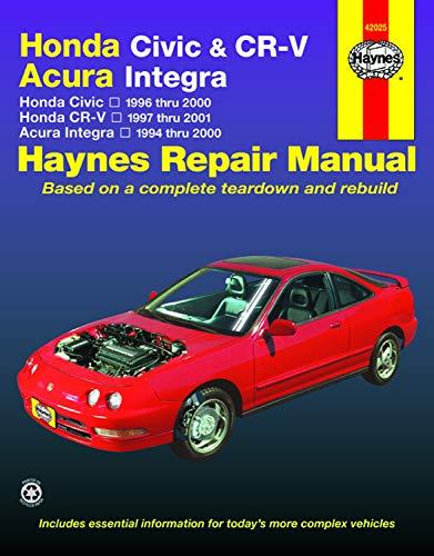Honda Civic, CR-V & Acura Integra 1994 thru 2001 Haynes Repair Manual: Honda Civic - 1996 thru 2000 - Honda CR-V - 1997-2001 - Acura Integra 1994 thru 2000