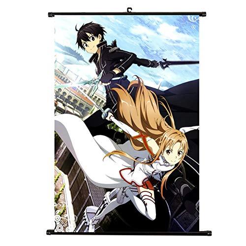 Lavendei Sword Art Online Scroll Poster, Personaje de anime Yuuki Asuna y Kirito Impermeable Tela Wall Scroll Poster Cuadros colgantes Perfecto para la decoración del hogar(Style 01)