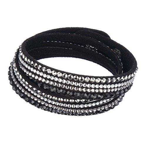 hslfrauen neuf Fashion Cuir Véritable Wrap Multi Layer strass Hot Fix – Bracelet Noir