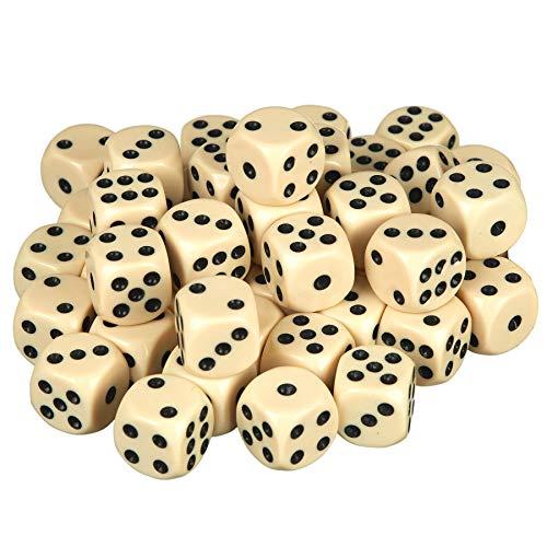 Scarlet Play Casino 50 - Juego de dados (50 dados, acrílico respetuoso con el medio ambiente, tamaño estándar para 6 caras, incluye bolsa de tela), color marfil