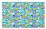 ABAKUHAUS Pescado Marino Tapete, Estilo Acuario Infantil, Decorativo con Fieltro de Poliéster Estampado Base Antideslizante, 45 cm x 76 cm, Cielo Azul y Multicolor