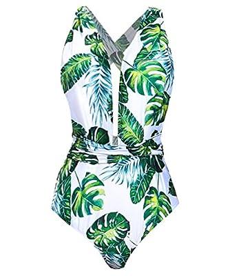 Begonia.K Women's Tropical Print Deep V-Neck Criss Cross Floral One Piece Swimsuit (Medium, Green Leaf)