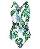 Begonia.K Women's Tropical Print Deep V-Neck Criss Cross Floral One Piece Swimsuit (Large, Green Leaf)