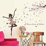 Mariposa de dibujos animados pegatinas de pared 3D flores de las plantas, arte moderno Inicio Vinilo pantalla, for el dormitorio de chicas de habitaciones y sala de juegos for niños Decoración 60x90cm