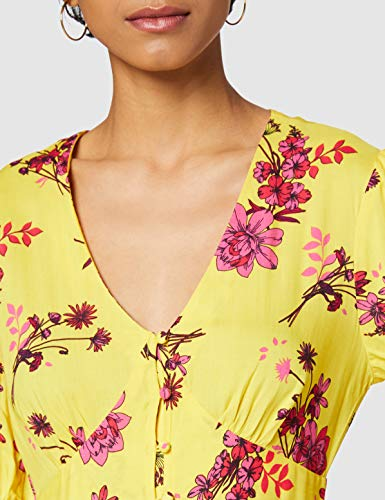 Marca Amazon - find. Vestido Midi Boho Mujer, Amarillo (Yellow), 40, Label: M