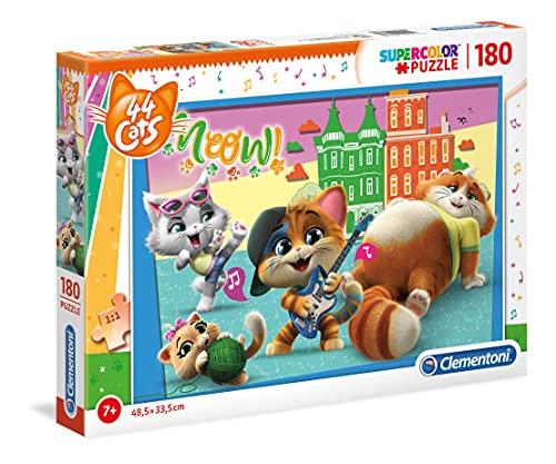 Clementoni 44 Cats Supercolor Puzzle-44 Gatti-180 pezzi, Multicolore, 29763