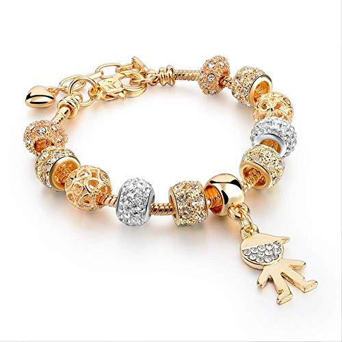 Pulsera para Mujer Pulsera con Dijes para Niña Pulseras con Diamantes De Imitación Femeninos para Mujer Pulsera De Oro Longitud 18 Cm + 3,5 Cm