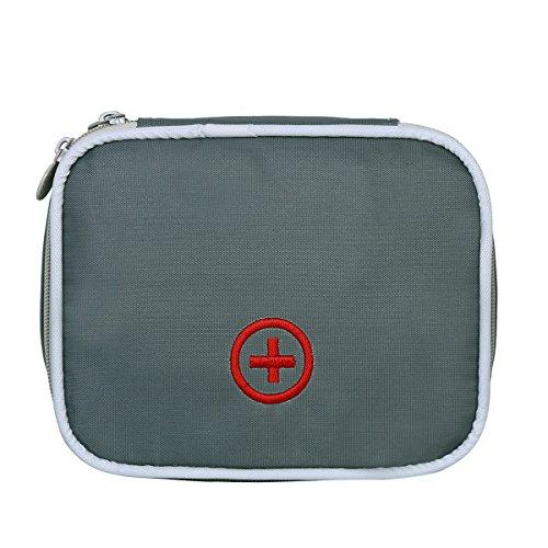 Eshow Oxford Gewebe Medizintasche für Notfälle Betreuertasche Reiseapotheke Tasche Erste Hilfe Set Medizinkoffer Sanitätstasche Grau 3 cm (W) x 4 cm (H) x 10 cm (D)
