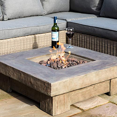 Peaktop Outdoor 35-Inch Square Retro Wood Finish Propane Gas Fire Pit