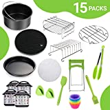 7 Inch Square Air Fryer Accessories, 15 pcs Air Fryer Accessories with Recipe Cookbook Compatible for Philips...