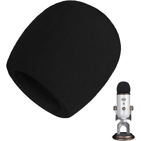 AOBETAK Spugna Filtro Antipop per Microfono,Antivento Schiuma Pop Filter per Microfono a Condensatore Blue Yeti,Yeti Pro,Colore Nero