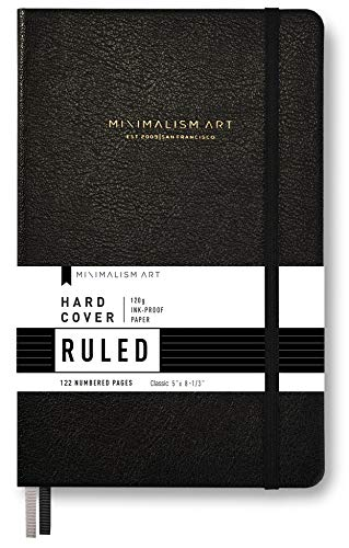 "Minimalism Art, Premium Hard Cover Notebook Journal, Small Size, Classic 5"" x 8.3"", 122 Numbered Pages, Gusseted Pocket, Ribbon Bookmark, Extra Thick Ink-Proof Paper 120gsm (Wide Ruled, Black)"