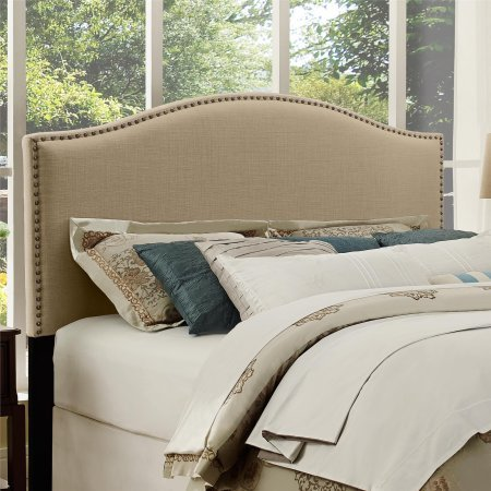 Better Homes and Gardens Grayson Linen Upholstered Headboard with Nailheads, Full/Queen - Beige