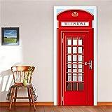 MSSDEBZ 3D Türaufkleber Wandbild Türtapete Selbstklebend London Red Telefonzelle Vinyl Badezimmer Wc Waschküche Dekoration Wohnkultur Aufkleber Kunst-77x200cm/30x80In