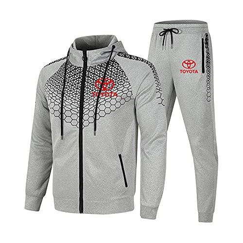 SPONYBORTY Conjunto de chándal para hombre y mujer Traje de jogging To.yo-t.a Suéter con capucha a rayas de 2 piezas + Pantalones traje deportivo Hombres/gray/M