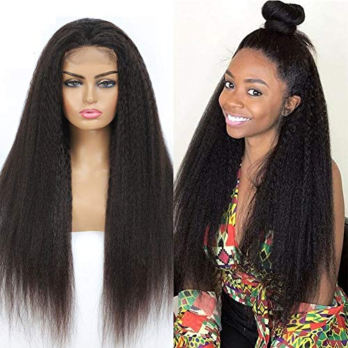 Kinky Straight Lace Wig 4X4 Lace Front Wig Human Hair Pre Plucked Bleached Knots Unprocessed Brazilian Virgin Hair Wet And Wavy Human Hair Wigs For Women Natural Black 16 Inch
