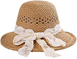CHENDX Hat New Ladies Hollow Holiday Travel Sun Hat Roots Eye Lace Bow Basin Hat (Color : Khaki, Size : Adjustable)