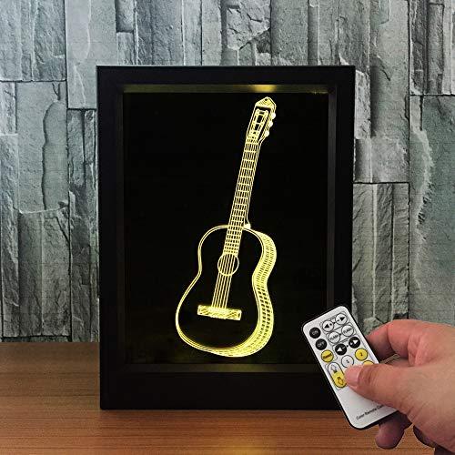 Nur 1 Stück 3D Guitar Po Fernbedienung Ändern USB LED Nachtlicht 3D Tisch Schreibtisch Visuelle Lampe Home Decor Geschenke
