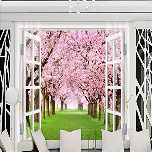 Wallpaper 3D Grote Gebruikergedefinieerde wallpaper Wallpaper aangepaste Mural Vlies 3D kamerbehang kersenbloesem venster 3D Tv Set wand Foto 3D Mural Tapete, 120 Cm * 100 Cm