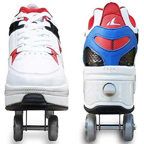Wedsf Skates Pulley Schoenen Volwassenen Kind Skateboarden Schoenen Sneakers 2 in 1 Multifunctionele Vervorming Rolschaatsen Quad Schaatsen Outdoor Sport
