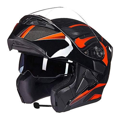 Bluetooth motorhelm, multifunctionele motorhelm, dubbele lens, anti-condens-helm met bluetooth-hoofdtelefoon, mannen en vrouwen, vier seizoenen, veiligheid Voltear helm, incl.