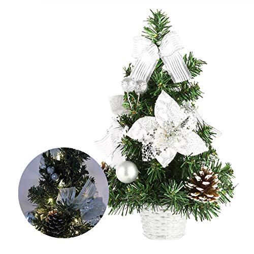 Happylohas Mini Albero di Natale, Mini Albero di Natale Artificiale, Albero di Natale in Fibra Ottica, per casa/Ufficio/Bar Commerciale, (30 cm/11,8 Pollici (pigne d'Argento)