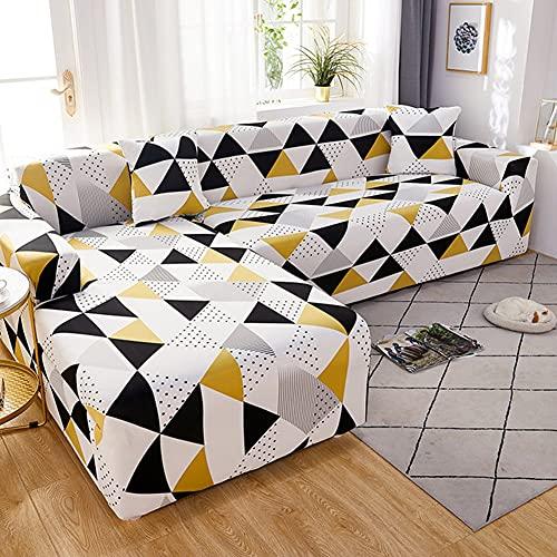 WXQY Funda de sofá geométrica elástica para Sala de Estar, Funda de sofá Antideslizante de Esquina de sección Transversal en Forma de L, Funda de sofá elástica Ajustada A6 1 Plaza