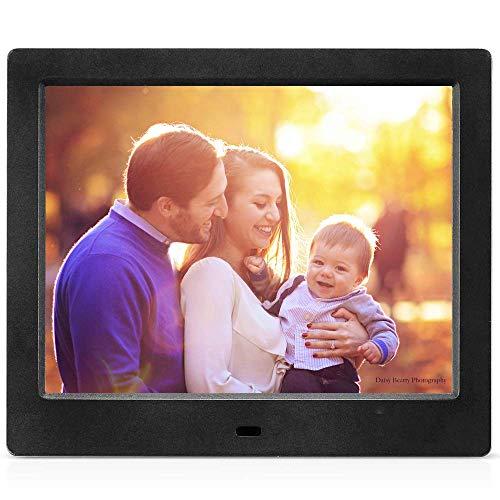 MRQ Marco Digital de Fotos 8 Pulgadas Pantalla Full HD 4: 3 Resolución soporte 1080p Soporte Rproductor de Audio MP3 MP4 Reloj Electrónico Calendario con Control Remoto