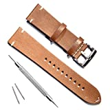 Handmade Vintage Replacement Leather Watch Strap/Watch Band (18mm, Minimalism Brown)