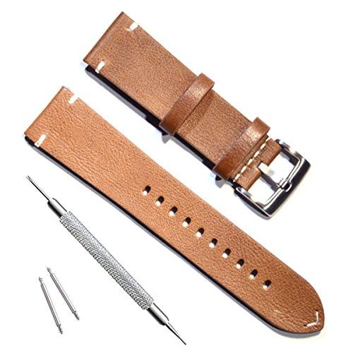 Verde oliva 22mm a mano in pelle bovina vintage orologio da polso/Watch...