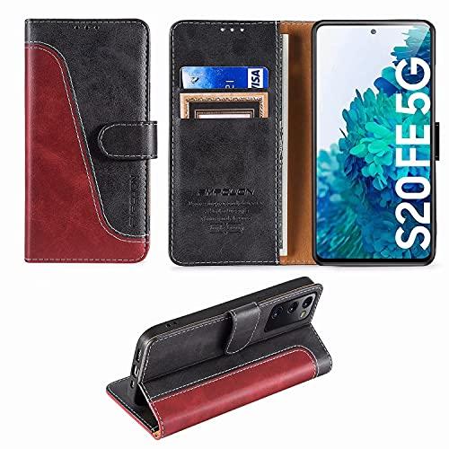 FMPCUON Handyhülle für Samsung Galaxy S20 FE 5G Hülle Leder,Premium Klapphülle Handytasche Flip Hülle Handy Hüllen Schutzhülle für Samsung Galaxy S20 FE 5G/S20 Fan Edition (6.5 Zoll),Rot/Schwarz